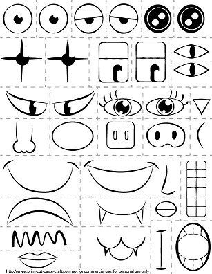 Print out parts of the face and explore emotions.