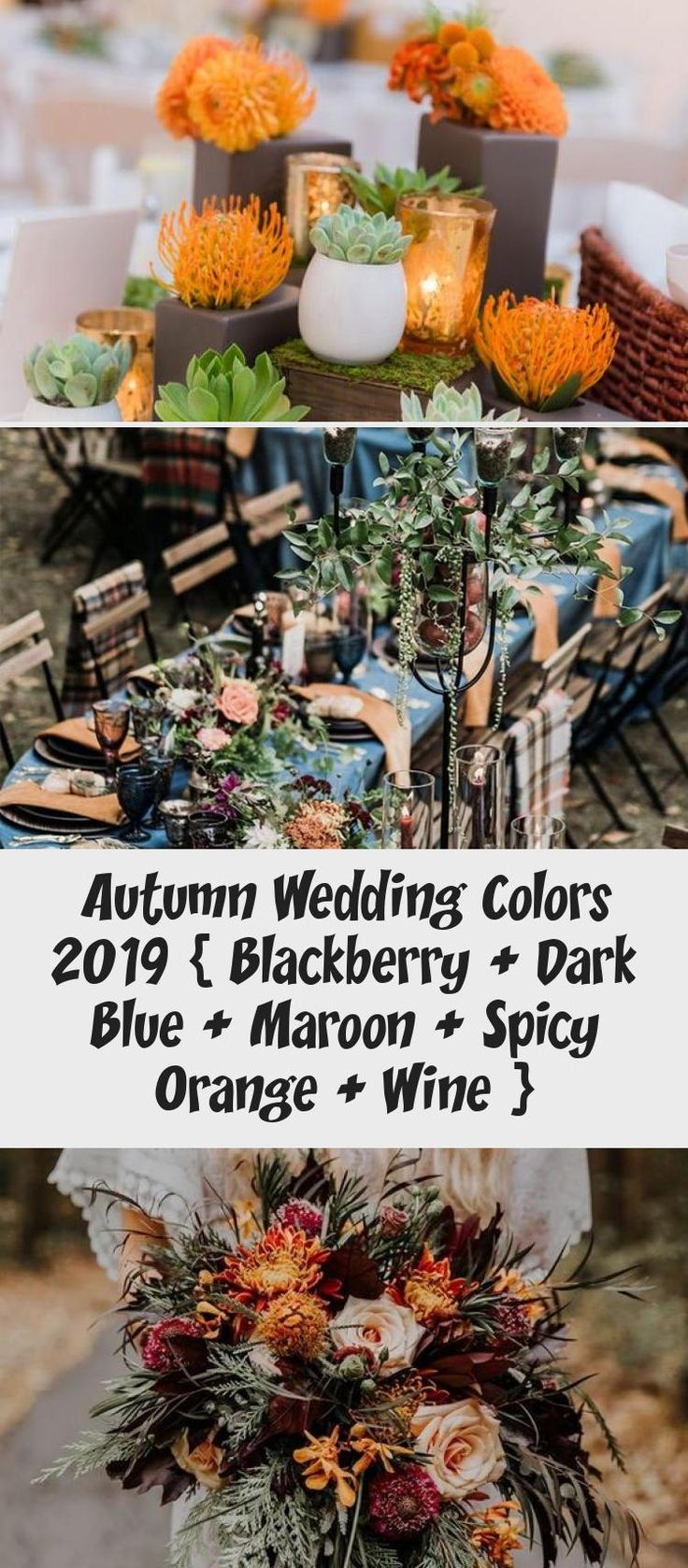 Autumn wedding colors 2019 { Blackberry + Dark Blue + Maroon + Spicy Orange + Wine } #color #fall #autumn #wedding #BridesmaidDressesSequin #BridesmaidDresses2019 #ModestBridesmaidDresses #SageBridesmaidDresses #DavidsBridalBridesmaidDresses