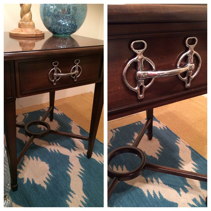 "What a cool way to ""repurpose"" old furniture. Add an old horse bit as the drawer…"