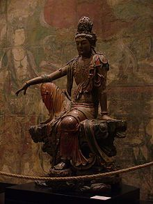 #Guanyin – Wikipedia  Guanyin (chinesisch 觀音 / #观音 , Pinyin Guānyīn, W.-G. Kuan-yin) ist im ostasiatischen Mahayana-Buddhismus ein weiblicher Bodhisattva des Mitgefühls, wird aber im Volksglauben auch als Göttin verehrt, wobei sie ursprünglich der männliche Bodhisattva Avalokiteshvara war.  vgl.:  about Journey to the West https://youtu.be/pXcos7BpgRU?list=PLmToBV_1sRojS3WeZsfbv2to7sbqxoFIO&t=114
