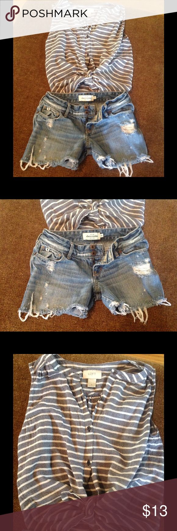 Girls Abercrombie shorts sz 14, Loft top Girls Abercrombie sz 14 cut off, distressed Denim shorts, LOFT top size small.  Cute outfit together!  No stains noted Smoke fee home, fast shipping noted! Abercrombie & Fitch Bottoms Jeans