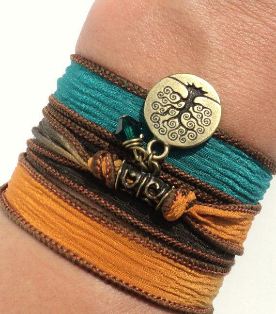 Tree of Life Silk Wrap Bracelet Yoga by BohemianEarthDesigns, $24.95