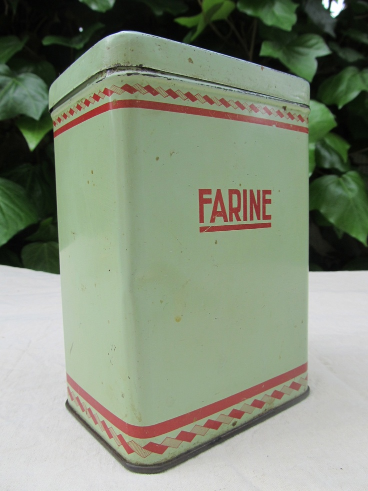 "Antique french kitchenware for storage of flour ""Farine"""