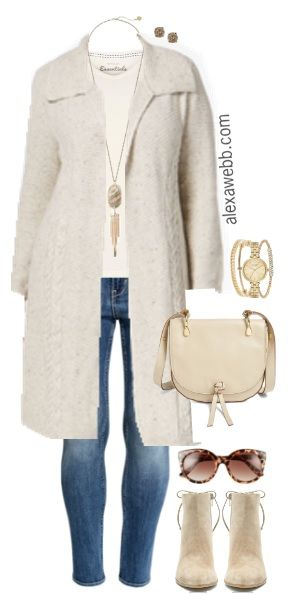 Off-white, ivory, and bone are great neutrals for winter.  Layer them in different textures, like cable knit, leather, and suede to create interest while wearing the same tones.  The outfit below could easily take you to work by swapping out the jeans with a pair of off-white wool trousers. Plus Size Duster Cardigan Outfit Shop… Read More