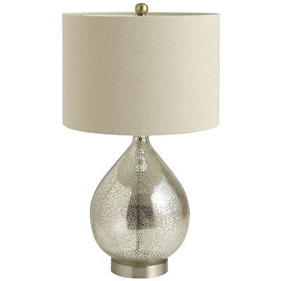 """Teardrop Luxe Lamp 75.00 •Champagne •14""""Dia x 25""""H •Glass, electrical components, metal, fiber •100 watt max •Dust lightly with cloth or air duster •Minimal Assembly"""