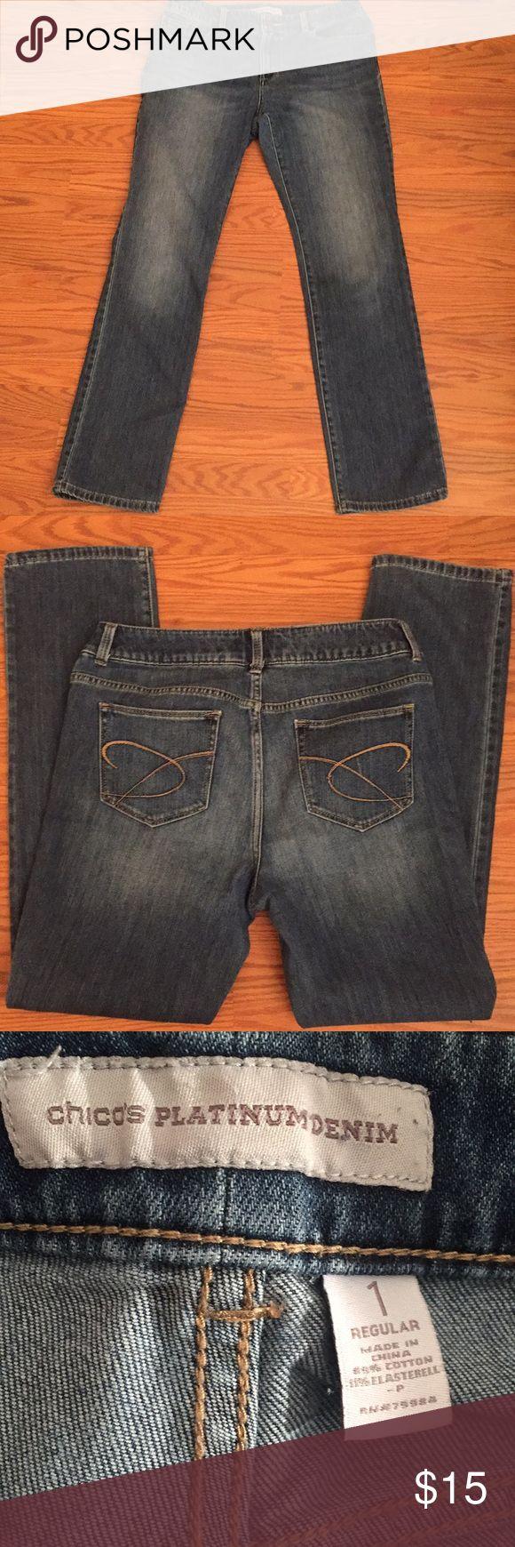 "Chico's jeans Chico's platinum denim, inseam 30"" Chico's size 1 ( see chart) Chico's Jeans Straight Leg"