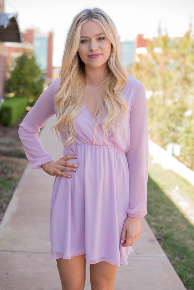 Wrap front HMC chiffon dress lilac. This classic fitting chiffon dress is available in colors perfect for Easter or any Spring occasion such as weddings and graduation! Fitted elastic waist. Fully lin