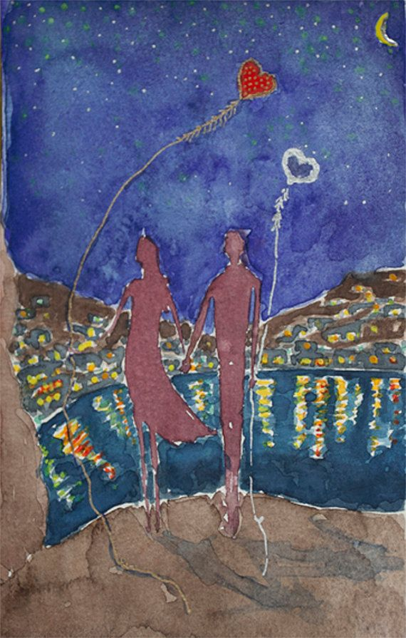 Love Couple painting Holding hands Nocturne by TremblingRhymes