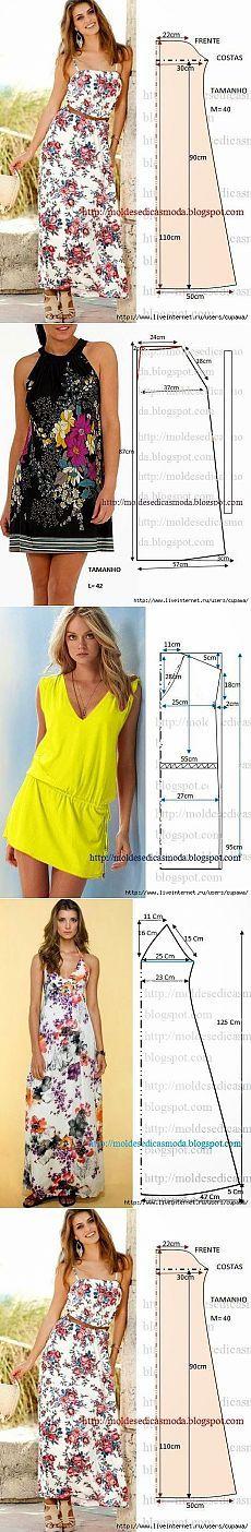 Для тех кто шьет...простые платья.....выкройки