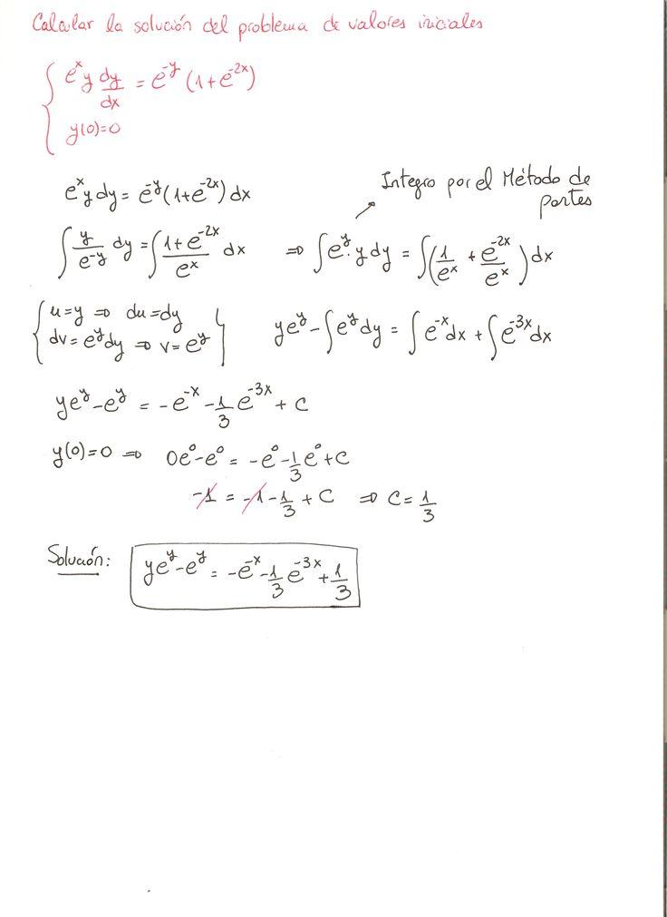 Solución del ejercicio 26 Ecuaciones diferenciales de variables separadas