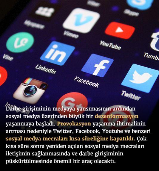 #15Temmuz Saat: 22:40 (Cuma)  Darbe girişiminin medyaya yansımasının ardından sosyal medya üzerinden büyük bir dezenformasyon yaşanmaya başladı. Provokasyon yaşanma ihtimalinin artması nedeniyle Twitter, Facebook, Youtube ve benzeri sosyal medya mecraları kısa süreliğine kapatıldı. Çok kısa süre sonra yeniden açılan sosyal medya mecraları iletişimin sağlanmasında ve darbe girişiminin püskürtülmesinde önemli bir araç olacaktı.