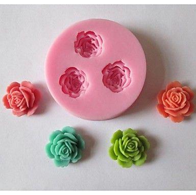 Three Flower Baking Fondant Cake Chocolate Candy Mold,L5.9cm*W5.9cm*H1.1cm – USD $ 4.99