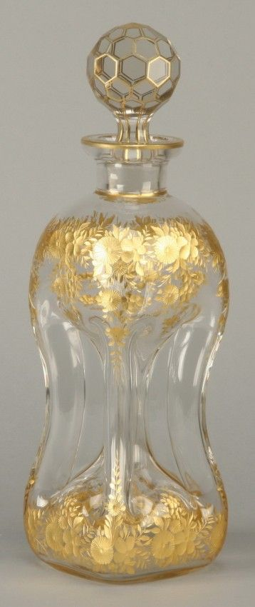 "Late 19th century Moser art glass decanter with wheel cut gold gilt floral designs, 14""h x 4"" square base."