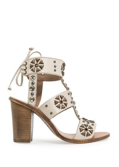 TOUCH - Leren sandalen versierd met kristallen en studs