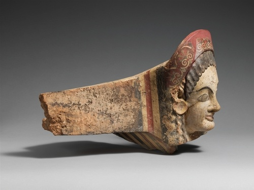 Terracotta antefix (roof tile), late 6th century B.C., Etruscan: Ancient Etruscan, Roof Tile, Ancient Object, Late 6Th, Etruscan Terracotta, Terracotta Antefix, 6Th Century, Antefix Roof, Century B C