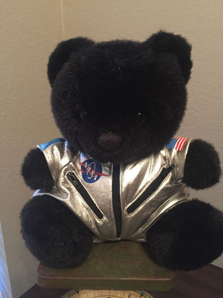 Nasa Space Astronaut Teddy Bear Plush 10 Quot Stuffed Animal Black Silver Suit None Animals