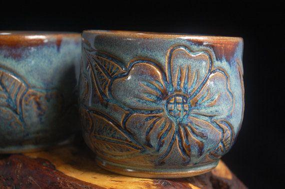 Handmade Blue Coffee Mugs Set of 2 cappuccino mugs tea cups