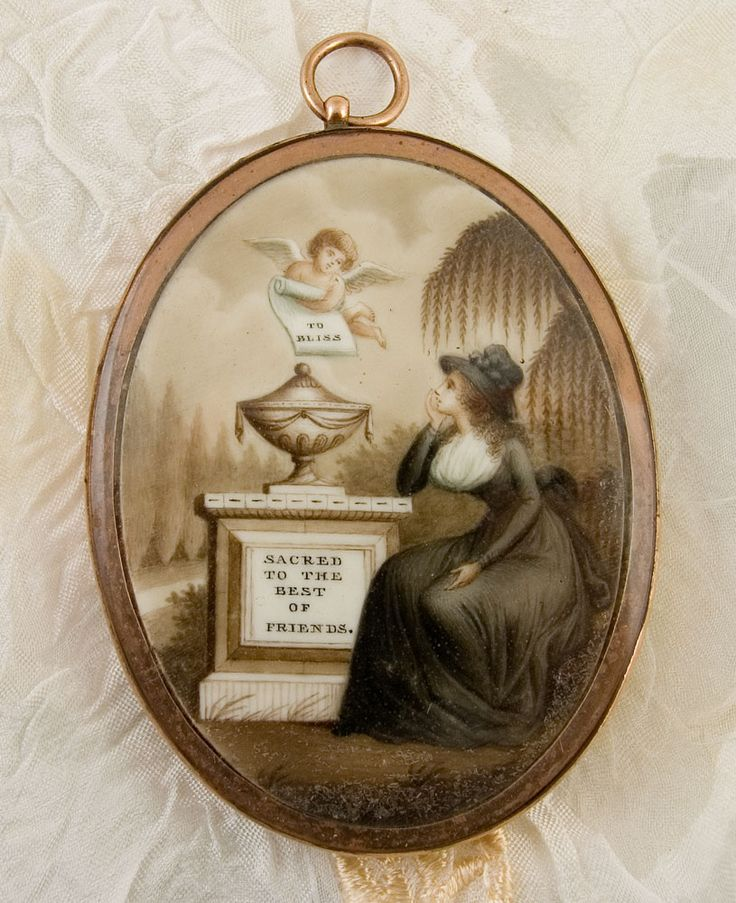 18th century mourning miniature with cherub, fashionable lady, urn, willow, cypress symbolism