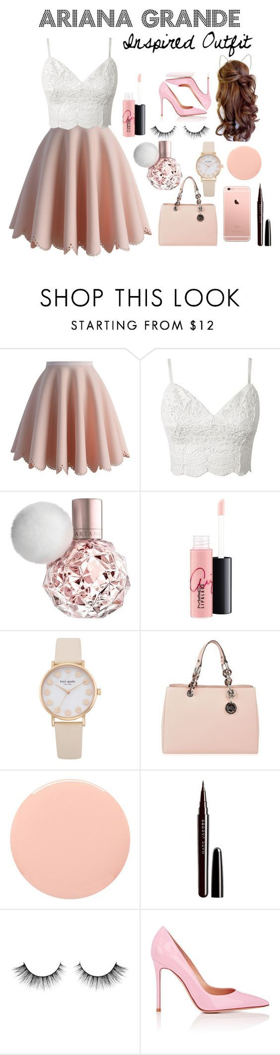 """""""Ariana Grande Inspired Outfit"""" by victoriafiocco ❤ liked on Polyvore featuring Chicwish, MAC Cosmetics, MICHAEL Michael Kors, Smith & Cult, Marc Jacobs, Gianvito Rossi, women's clothing, women, female and woman:"""