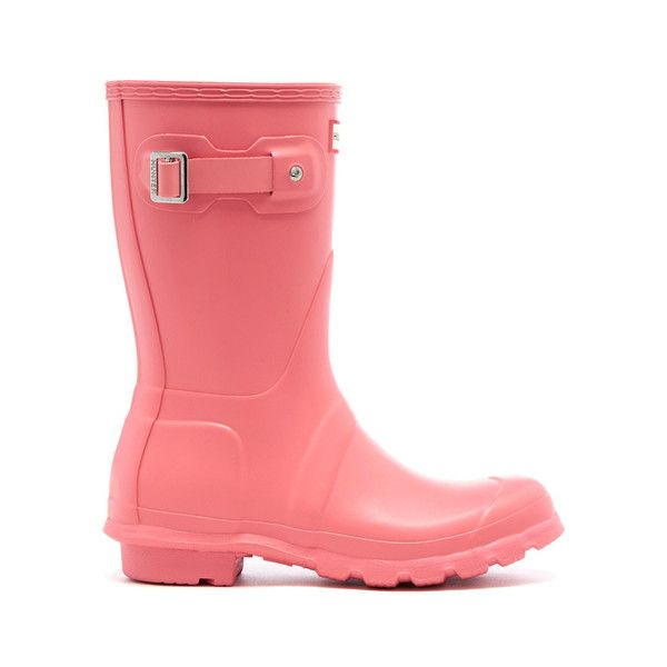 Hunter Women's Original Short Wellies - Pink (£75) ❤ liked on Polyvore featuring shoes, boots, pink, pink rubber boots, bootie boots, pink ankle boots, short boots and pink knee high boots