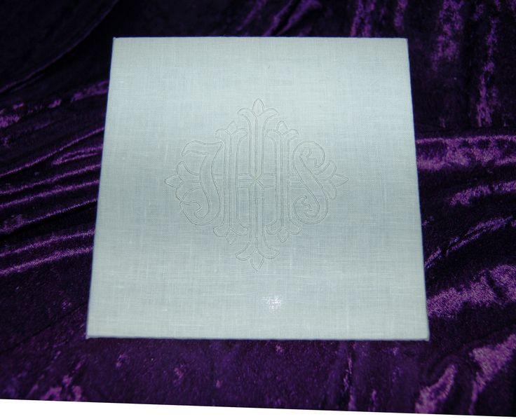 "Chalice pall; IHS monogram; 100% linen mounted on 7"" x 7"" plexiglass; 8.3.17"