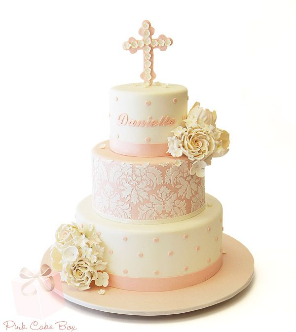Charlotte's Baptism Cake by Pink Cake Box in Denville, NJ.  More photos at http://blog.pinkcakebox.com/charlottes-baptism-cake-2012-07-31.htm  #cakes