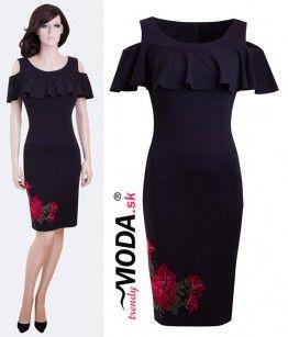 Čierne šaty s aplikáciou - trendymoda.sk