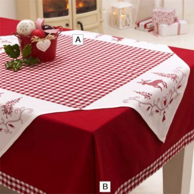 Christmas Check Overcloth in placemats and table linen at Lakeland