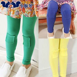 2013 autumn korean version of the new solid color patch patch baby girls children leggings long pants 5155 only $6.08USD a Piece