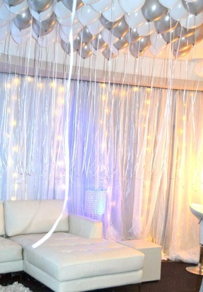 All White Party lounge area, love the hanging balloon additive... i would like to see what white and cream would have looked like also to keep the theme closer to its name