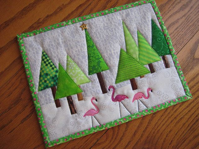 Yet another tree mug rug! If it's not a penguin, it's a tree... by FlossieBlossoms, via Flickr