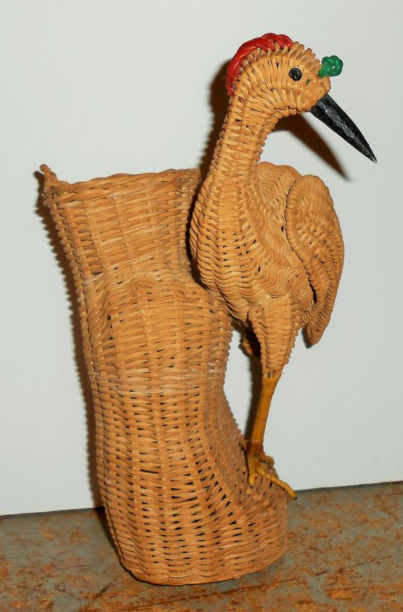 Vintage Basket Wicker Bird Basket Wall Hanging by TheBackShak