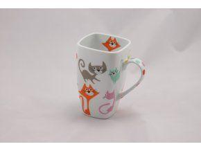 Porcelánový hrnek 600 ml - barevné kočky