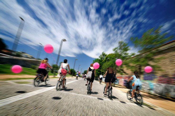 Bike, girls, fashion, balloons