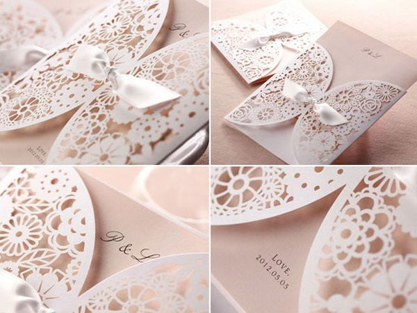 ~ Beautiful lace wedding invitation  stationery for a vintage/vintage chabby chic wedding
