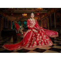 Red Color Silk Hand Craft Bridal Lehenga With Semi-stitched Designer Choli From Lagna Shringar Buy World Of Style  Rs.14,641