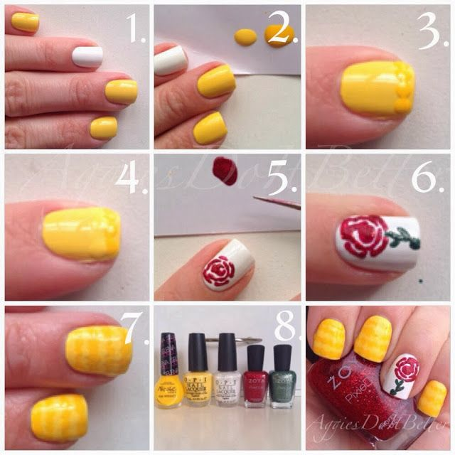 Beauty and the Beast Belle nails tutorial by Aggies Do It Better