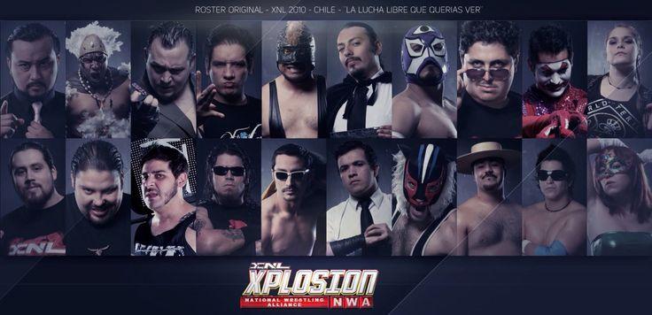 Roster original de XNL Xplosion Nacional de Lucha, temporada 2010.  Marco Mendoza R. Diseñador.
