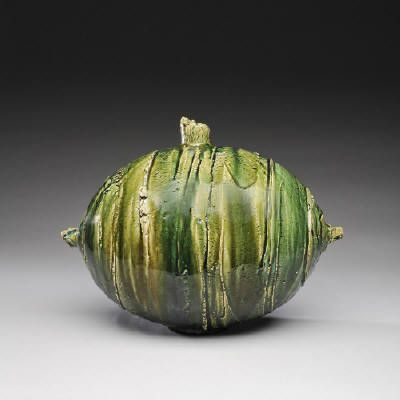 Artist: Shigemasa Higashida, Title: Oribe Oval Vase  - click on image to enlarge: