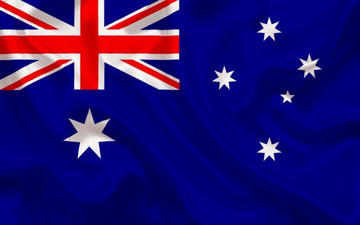 Herunterladen hintergrundbild australische flagge, australien, blau seide, flaggen der welt, flagge von australien