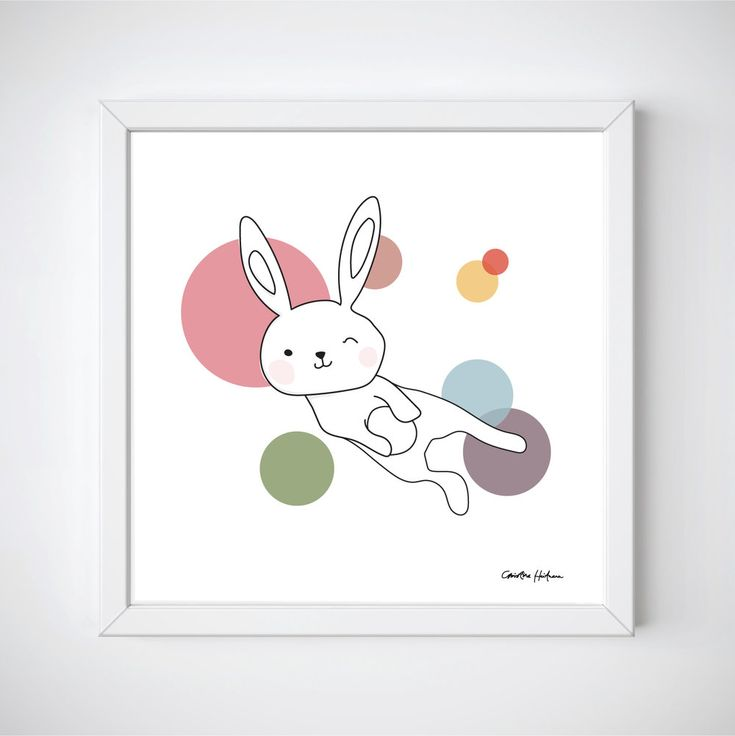 "Space Rabbits -SELENA Illustration of a cute rabbit jumping around in space. ""SELENA"" is a part of the Space Rabbits collection.  This poster is perfect for a nursery or a child's room.   #illustratör #illustration #rabbit #rbbits #space #planets #cute #poster #prints #kidsroom #kidsposter #children #kidsroominspo"