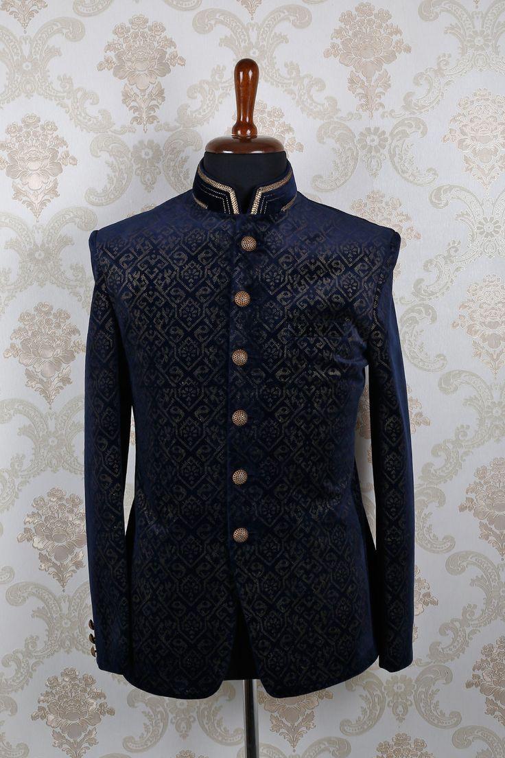 Navy #blue & #beige #velvet dashing slim fit #suit with mandarin collar -ST390