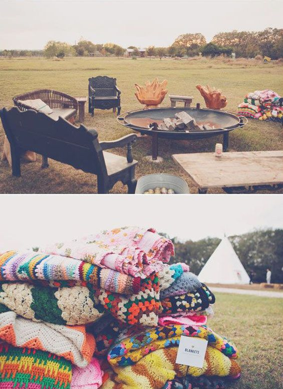 Bluebird blog Bohemian wedding came up with this fantastic picture of a chill out area for the field wedding