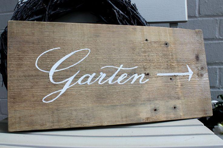 Schild, GARTEN, Gartenschild, Holzschild von theartofvariety via dawanda.com