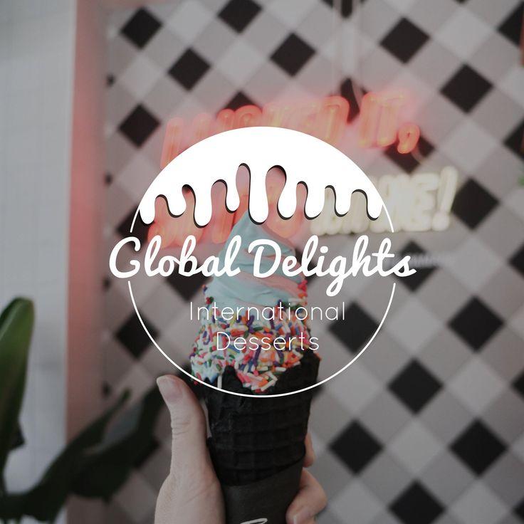 Diseño de logotipo de Global Delights Ice Cream Shop + Marca de Kenzi Green Design #log …   – GRAPHIC DESIGN GROUP BOARD