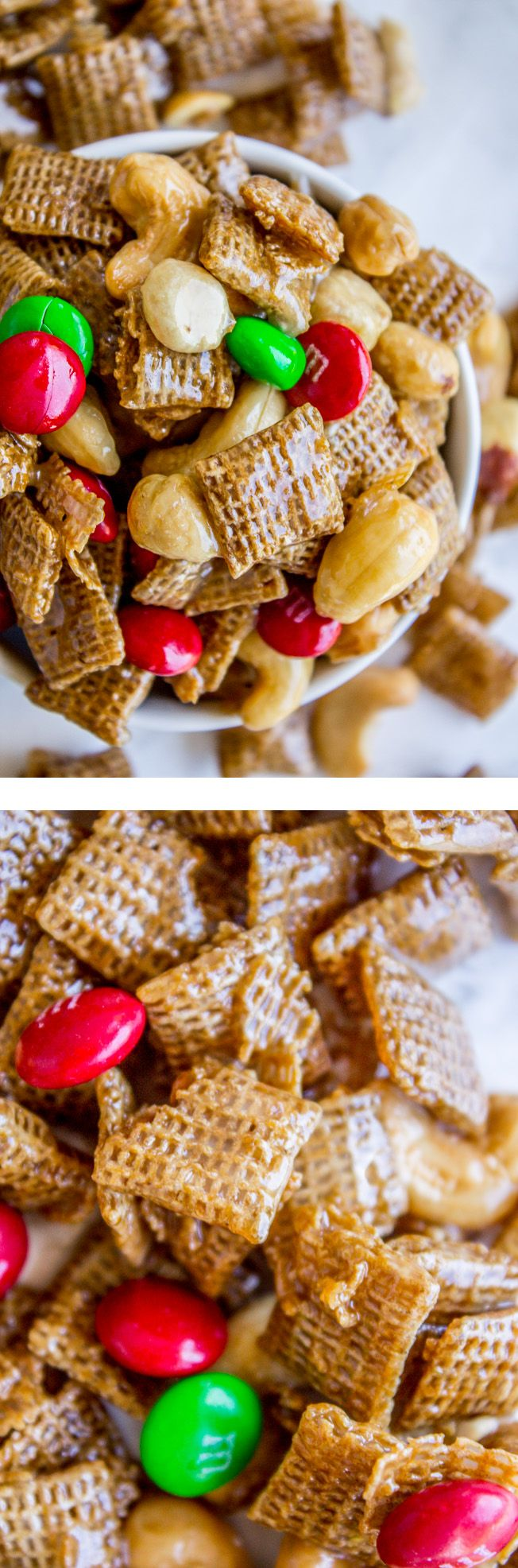 This Sticky Chex Mix (from the Food Charlatan) is called Christmas Crack for a good reason! Once you start you just can't stop. A simple syrup (with LOTS of butter) gets drizzled over corn Chex and studded with nuts and M&Ms. It is salty-sweet perfection! It's always gone before you even realize what happened.
