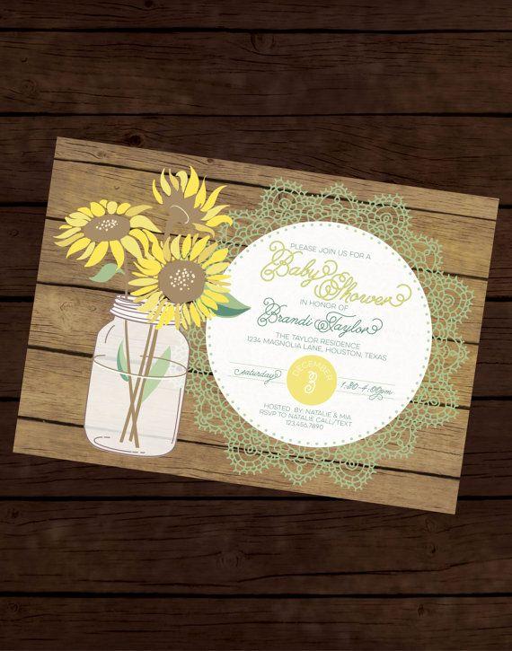sunflower baby shower sunflower invitation baby shower invite bridal