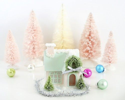 How to decorate putz houses - add snow and glitter