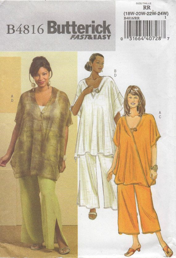 Plus Size Patterns - Plus Size Tunic - Plus Size Pants - New Butterick Pattern 4816 - Sizes 18 to 24
