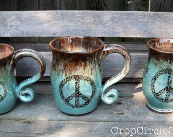 Made To Order - Imagine Peace Coffee Mug Handmade pottery mug Infused with Reiki - Robin's Egg Brown Rustic Earthy Pottery Crop Circle Clay